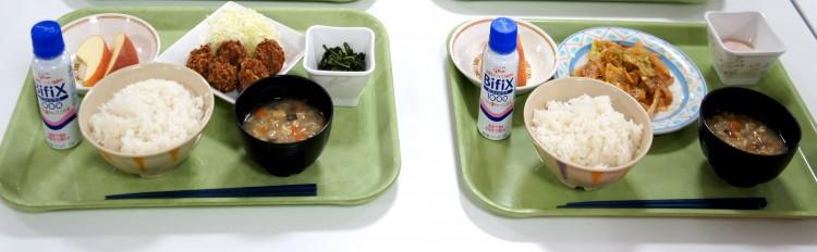②けの汁+いがメンチ定食            ③けの汁+豚味噌炒め定食