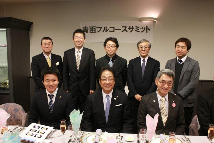 青森市,むつ市,函館市の3市長と主催者,講演者