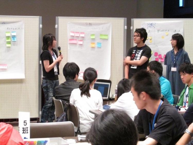 若者の政治参画について意見を発表する学生