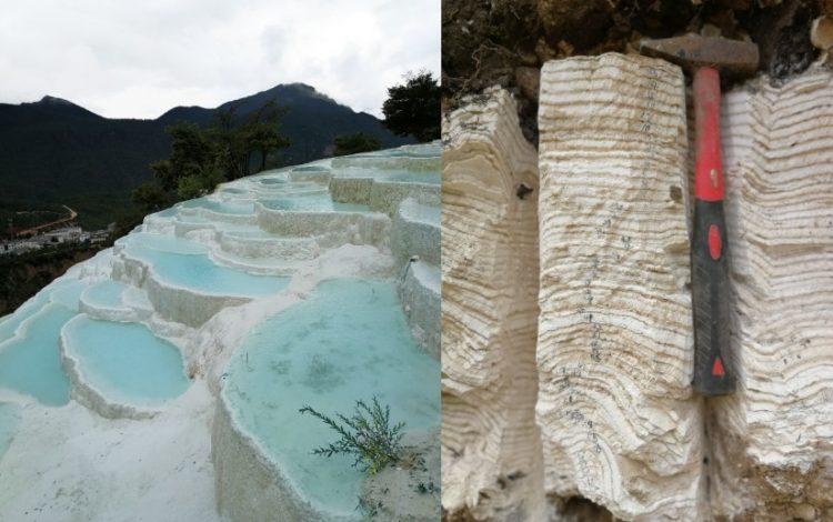 中国雲南省の白水台に広がる石灰棚(左)と、白水台より採取された石灰質堆積物 の年層(右)